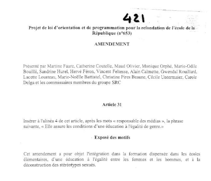 ideologie-du-genre-amendement AC 421-