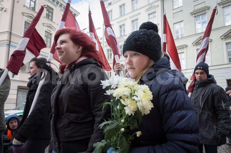 Manifestation en l'honneur de la Légion lettone en 2014.