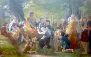 Louis IX est demeurée populaire jusqu'à nos jours et a inspiré de nombreux artistes ici :  Saint Louis rendant la justice sous le chêne de Vincennes, huile sur toile de Pierre-Narcisse Guérin (1816).