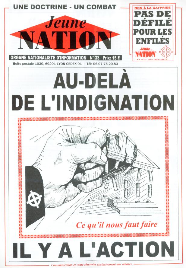 L'un des derniers numéros de Jeune nation deuxième époque avant le passage au format internet (1998)