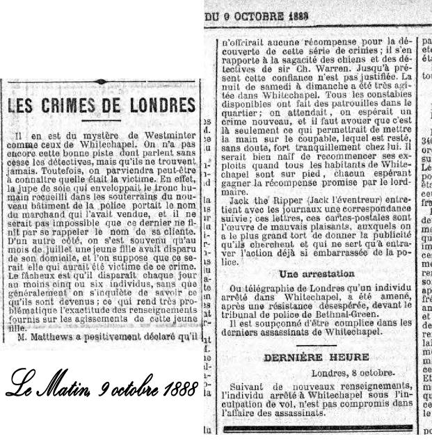 Le quotidien Le Matin évoque les meurtres de Londres dans son édition du 9 octobre 1888.