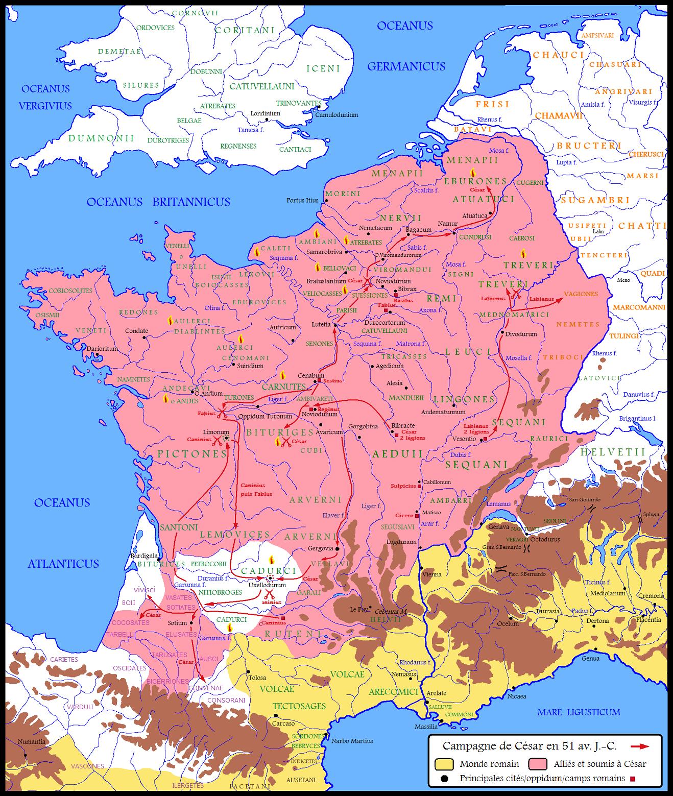 La Guerre des Gaules au temps du siège d'Uxellodunum (-51).
