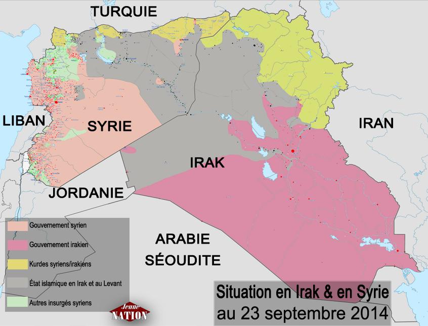 État islamique. Situation en Irak et en Syrie au 23 septembre 2014.