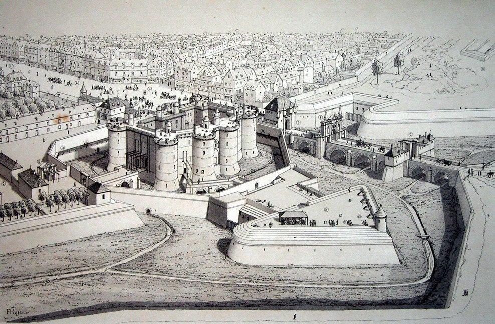 Édifiée au XIVe siècle à la Porte Saint-Antoine pour la protection de Paris, la Bastille devint par la suite une prison d'État, en voie de désaffection à la veille des événements de 1789. Illustration du haut : La bastille et ses défenses en 1650.