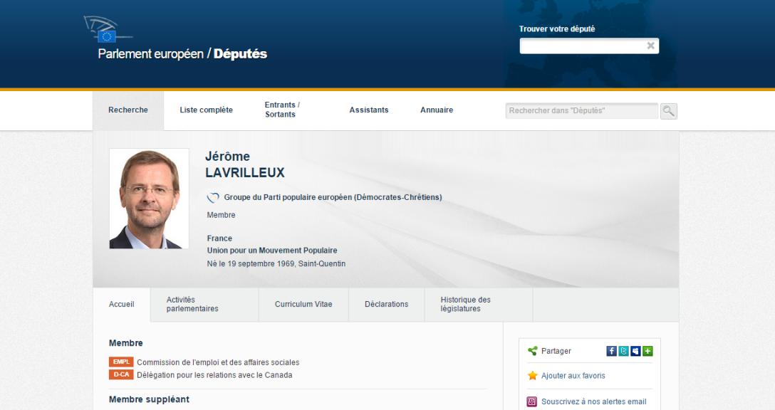 Sur le site du Parlement européen, Jérôme Lavrilleux apparaît toujours comme membre de l'UMP (copie d'écran réalisée le 29 XI 2014)