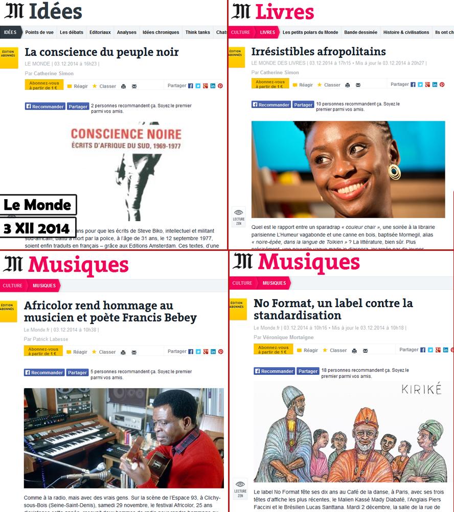 Le Monde, journal afrolatres