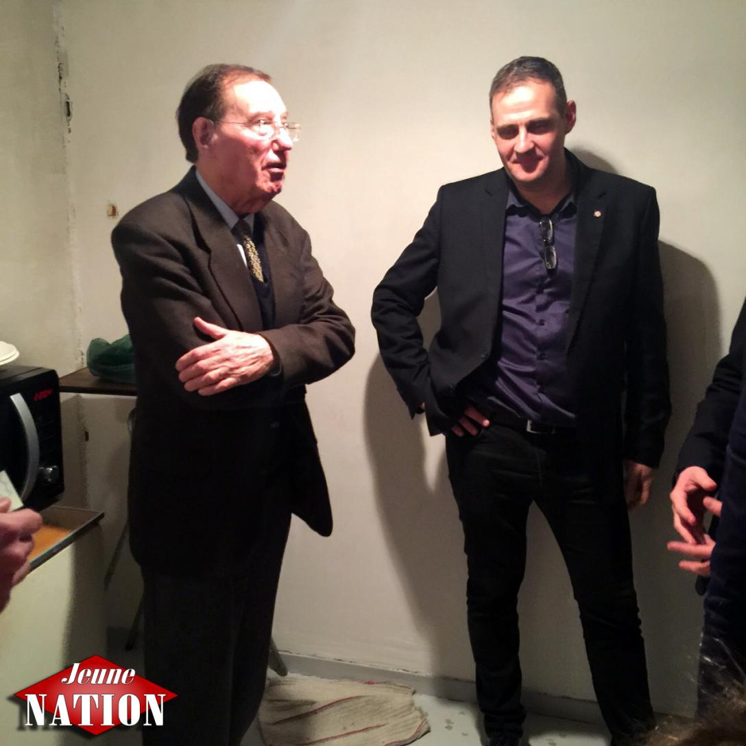 Deux présidents de l'Œuvre française Pierre Sidos et Yvan Benedetti.