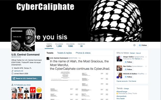 etat islamique piratage centcom twitter