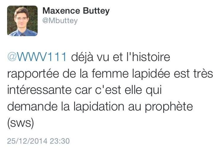 Maxence Buttey apologie lapidation