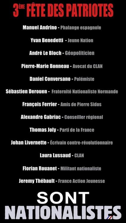 3e Fête des Patriotes benedetti le bloch conversano bonneau derouen ferrier gabriac joly livernette lussaud rouanet thébault
