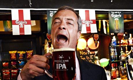 Nigel Farage drinking in pub