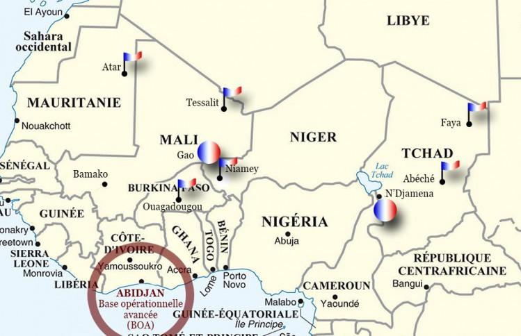 Carte montrant la projection des forces françaises au Sahel dans le cadre de l'opération barkhane