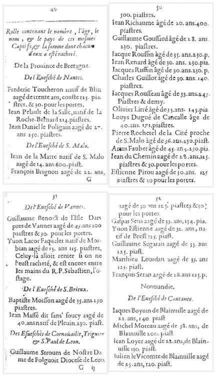 rolle de captifs blancs rachetés aux islamistes 1644