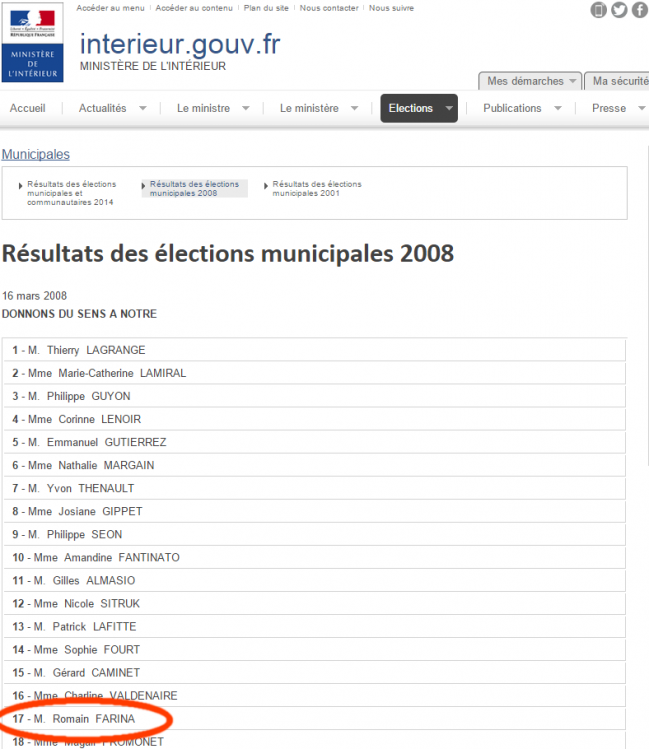 Romain Farina en 17e position d'une liste socialiste en 2008.