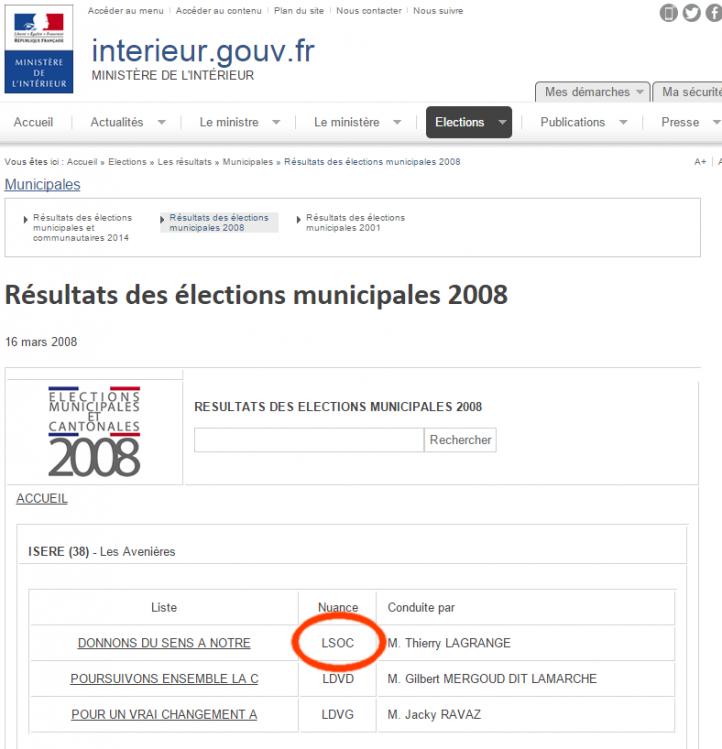 """La liste de Romain Farina est étiquetée """"LSOC"""", liste socialiste sur le site du ministère de l'Intérieur."""