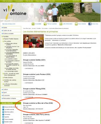 Copie d'écran du site de la ville de Villefontaine  : le nom de Romain Farina a été supprimé, avant même la suspension du pédocriminel.