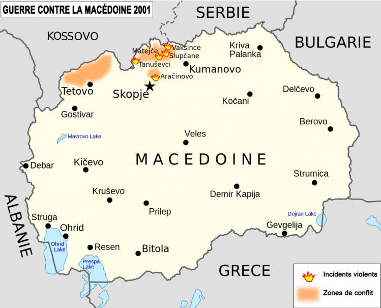 Conflit déclenché par l'envahisseur albanais en Macédoine en 2001