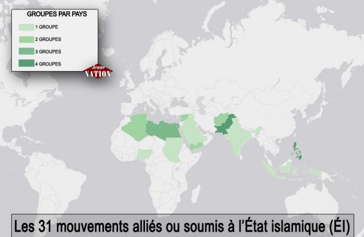Les mouvements alliés ou soumis à l'État islamique