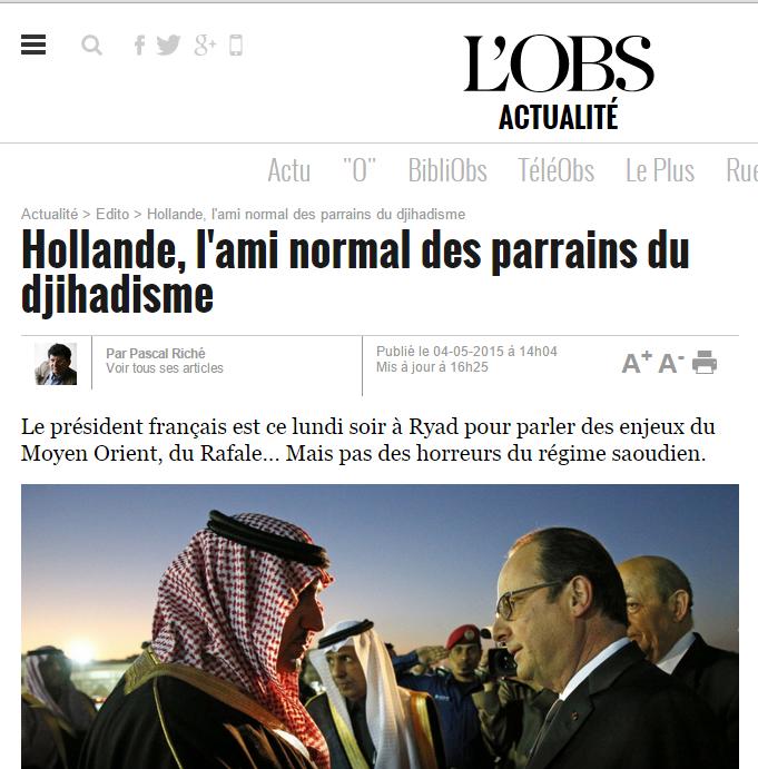L'Obs - Hollande l'ami des salafistes financiers des terroristes
