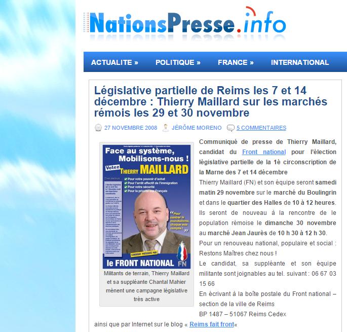 [L'organe de presse mariniste Nation presse info a fait régulièrement la publicité pour Thierry Maillard]