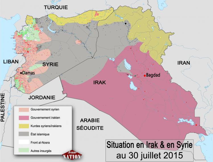 Situation en Syrie et en Irak au 30 juillet 2015.