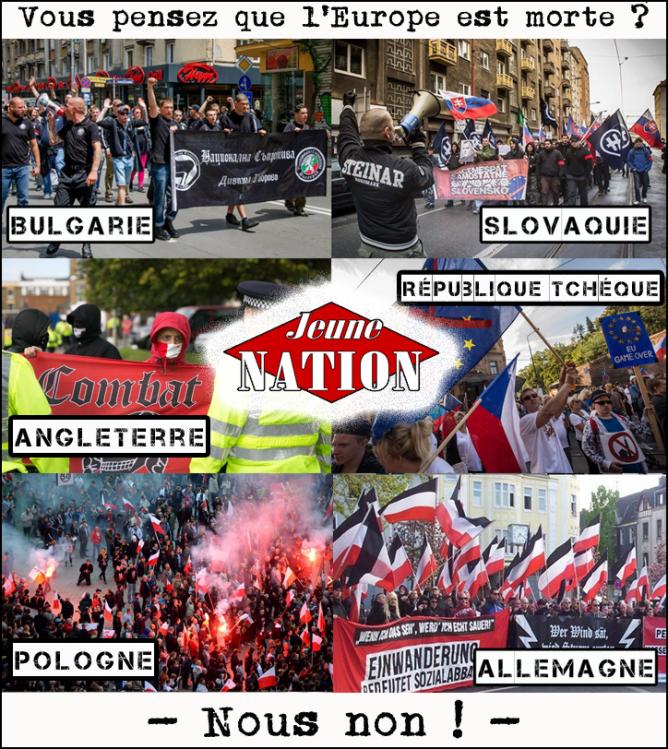 République tchèque, Slovaquie et Pologne contre l'invasion de l'Europe ! Également, des rassemblements un peu partout en Europe, Angleterre, Allemagne, Italie, Suède... Le futur de l'Europe c'est le nationalisme ! Rejoignez le combat !