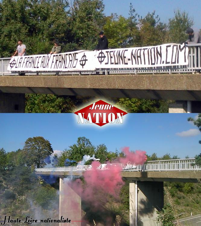 Mobilisation du groupe Haute-Loire nationaliste - Des militants du groupe Haute-Loire nationaliste ont tendu une banderole au-dessus de la RN88 à Monistrol-sur-Loire.