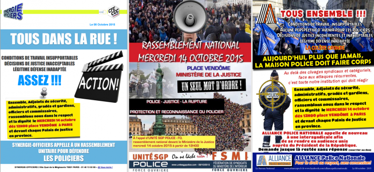 police manifestation 14 octobre 2015 synergie FO Alliance