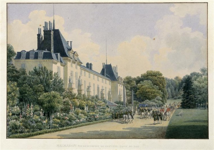 Auguste Garneray, Vue de Malmaison. vue de la façade du château côté parc