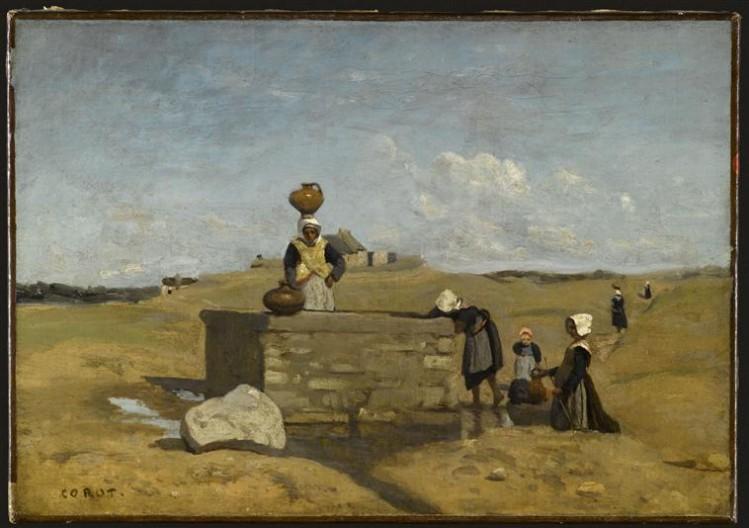 Jean-Baptiste Camille Corot, Bretonnes à la fontaine, Bourg de Batz
