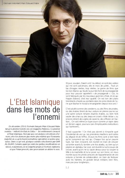 Marc Edouard Nabe héros de l'état islamique