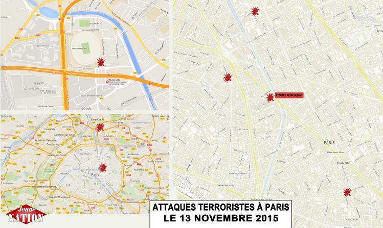 Des attaques minutieusement préparées et coordonnées : cartes des principaux points visés par les tueurs islamistes vendredi 13 octobre 2015 à Paris selon les informations connues le 14 novembre au matin
