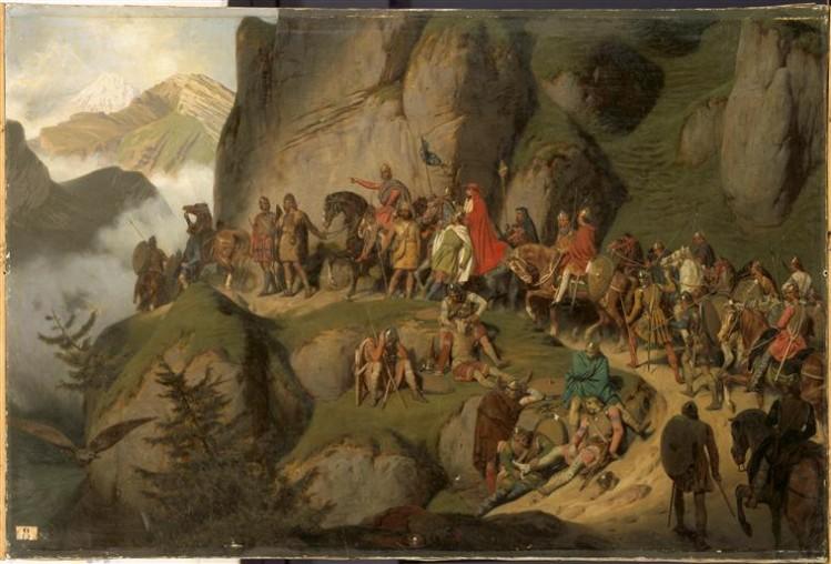 Eugène Roger, Charlemagne traverse les Alpes pour aller combattre Didier, roi des Lombards, 773, (1837)