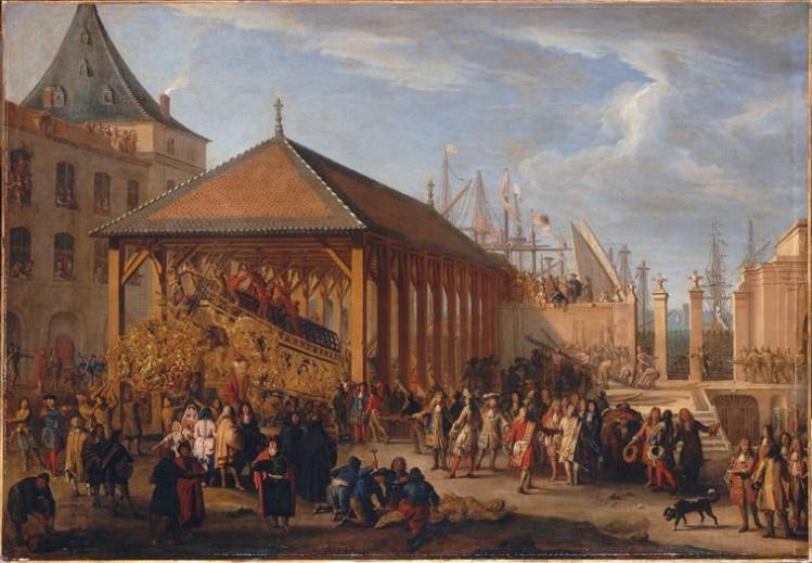 Jean-Baptiste de La Rose l'Ancien, Le Marquis de Seignelay et le duc de Vivonne visitant la galère Réale en construction