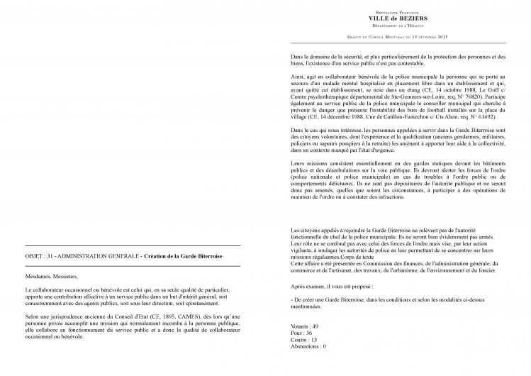 création garde biterroise délib 15 décembre 2015-