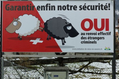 UDC poster campain in Aigle Switzerland/JOFFET_080005/Credit:EMMANUEL JOFFET/SIPA/1602170804