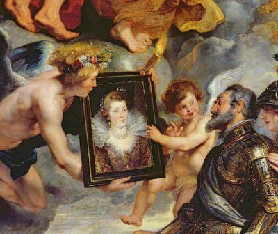 XIR362911 The Medici Cycle: Henri IV (1553-1610) Receiving the Portrait of Marie de Medici (1573-1642) 1621-25 (oil on canvas) (detail of 17689)  by Rubens, Peter Paul (1577-1640); 394x295 cm; Louvre, Paris, France; Giraudon; Flemish, out of copyright