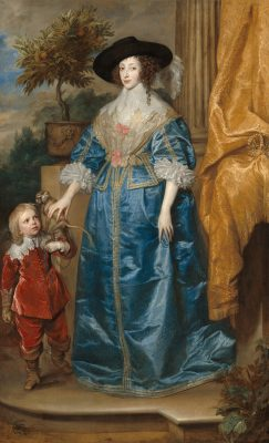 Sir Anthony van Dyck (Flemish, 1599 - 1641 ), Queen Henrietta Maria with Sir Jeffrey Hudson, 1633, oil on canvas, Samuel H. Kress Collection 1952.5.39