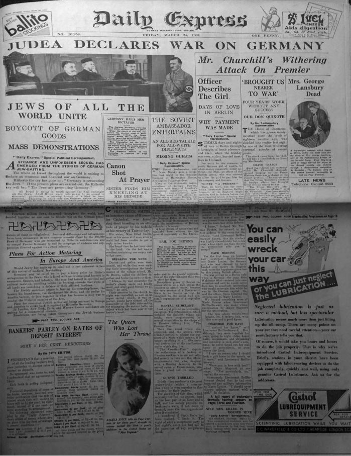 « Judea declares war on Germany », « La Judée déclare la guerre à Israël »